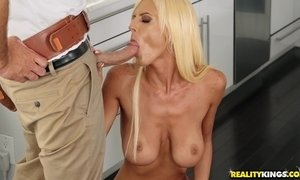 White haired mommy with big saggy tits seduces a plumber with big tool