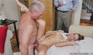 Three old farts enjoys fucking one sweet looking young chick Molly Mae