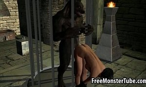 Hot 3D cartoon brunette babe fucked by a werewolf