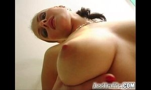 Ass Traffic Big tit babe gets her ass fucked with toys then cock