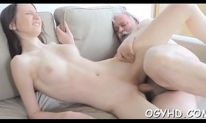 Horny young babe screwed by old lad
