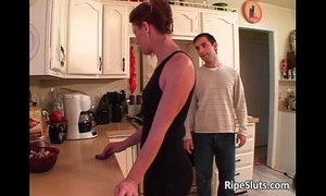 Slutty brunette MILF gets her tiny pussy