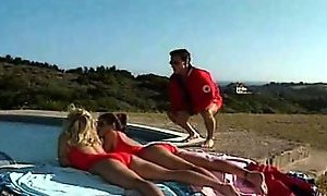 Busty swimsuit babes fucking a guy