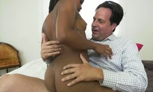 Cute ebony stepdaughter Amilian Kush hooks up with her white step daddy
