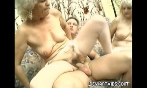 Granny threesome in the living room