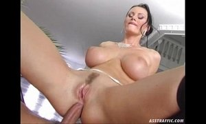 Ass Traffic huge big tits anal fucked and double penetrated