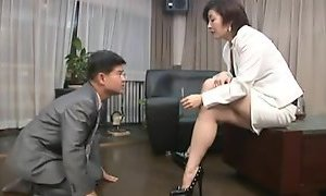 Oriental foot femdom smokin with cigarette holder